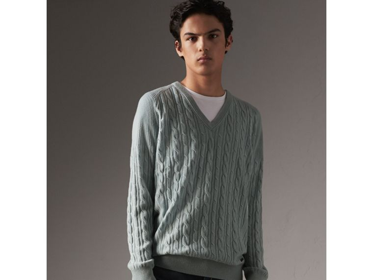 Cable and Rib Knit Cashmere V-neck Sweater in Powder Blue - Men | Burberry - cell image 4