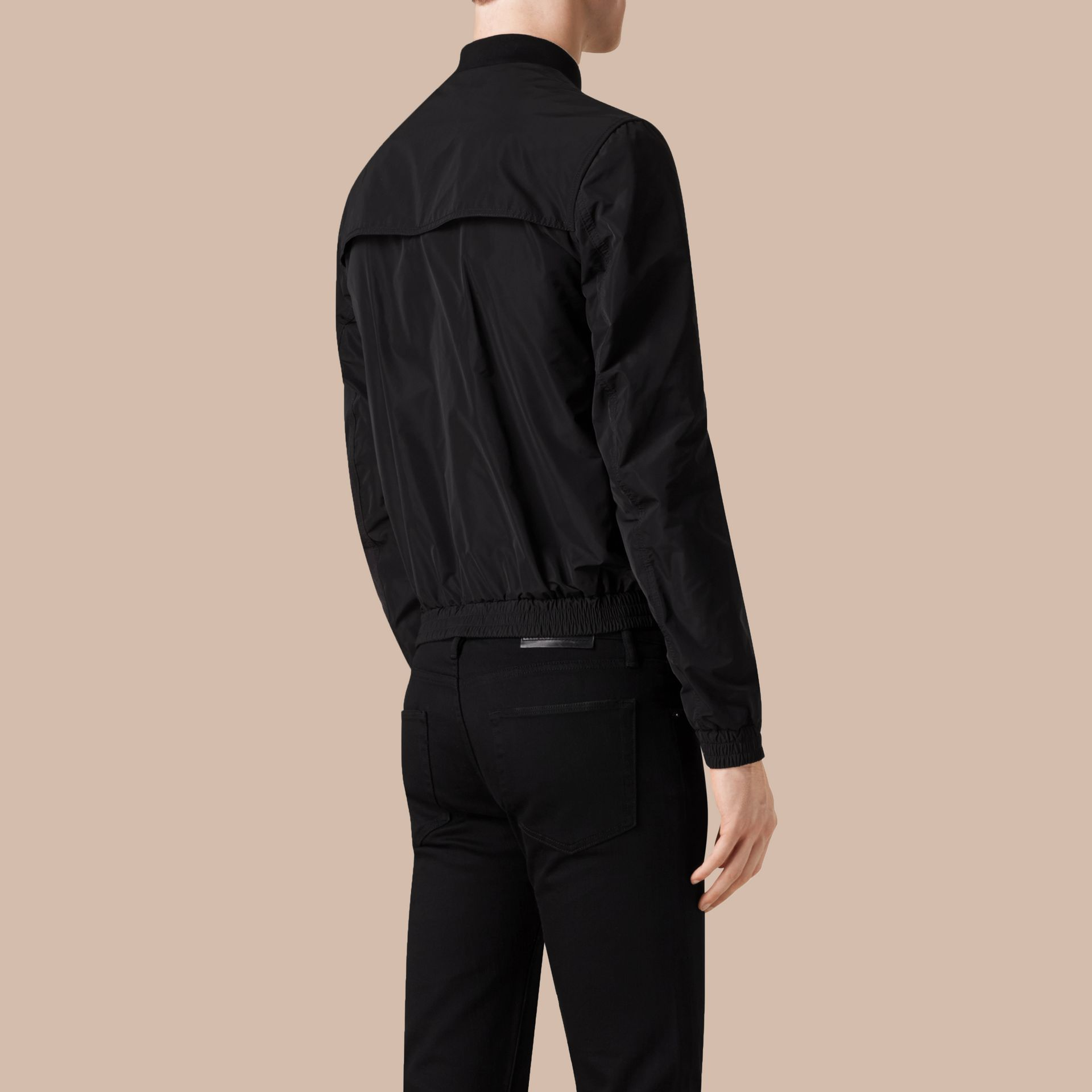 Black Showerproof Bomber Jacket Black - gallery image 3