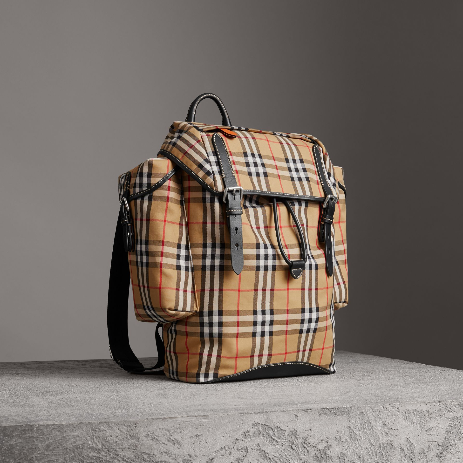 Vintage Check and Leather Backpack in Clementine - Men | Burberry United States - gallery image 0