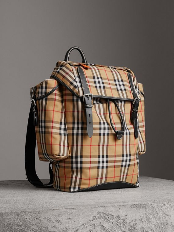 Vintage Check and Leather Ranger Backpack in Antique Yellow/clementine