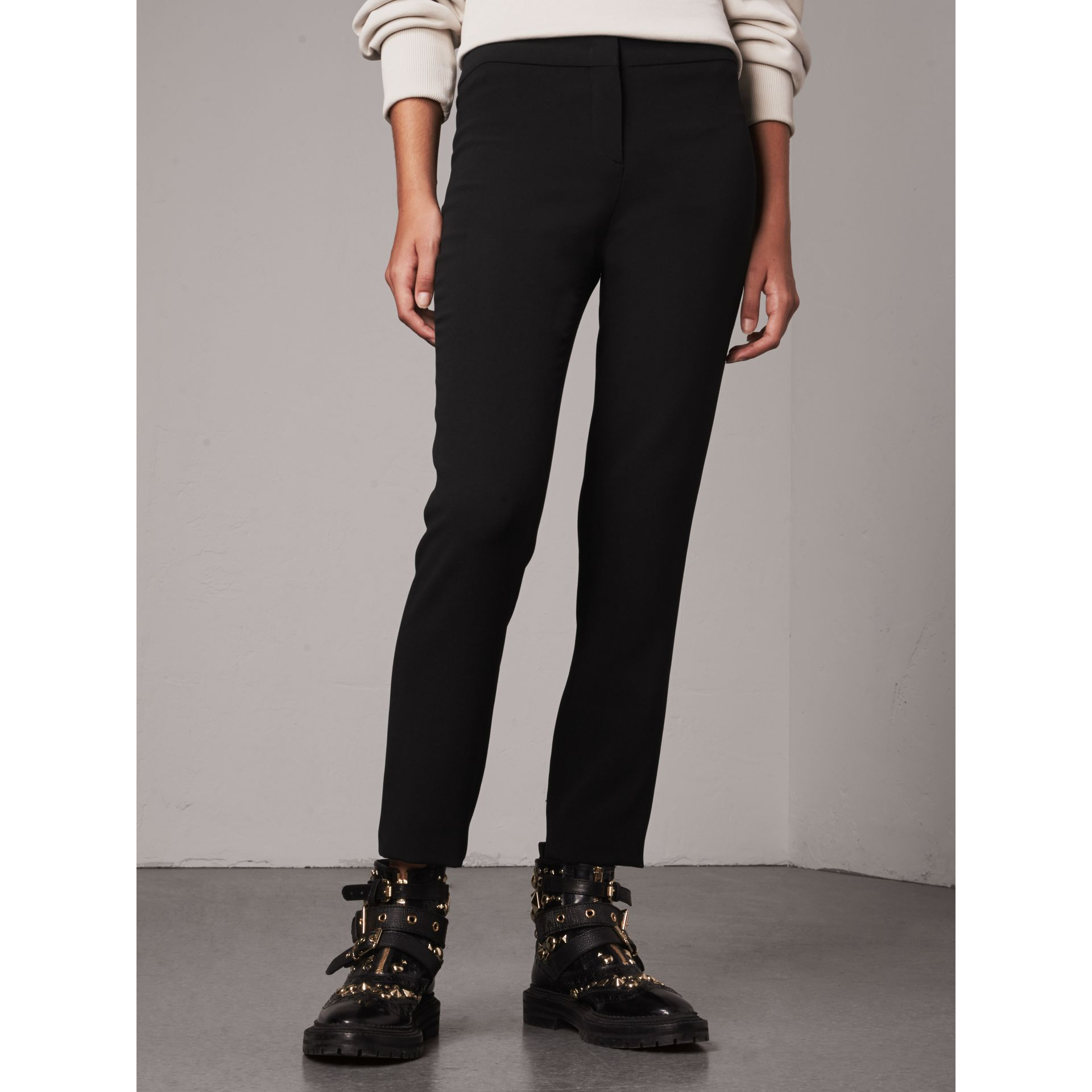 Slim Fit Faille Trousers in Black - Women | Burberry - gallery image 5