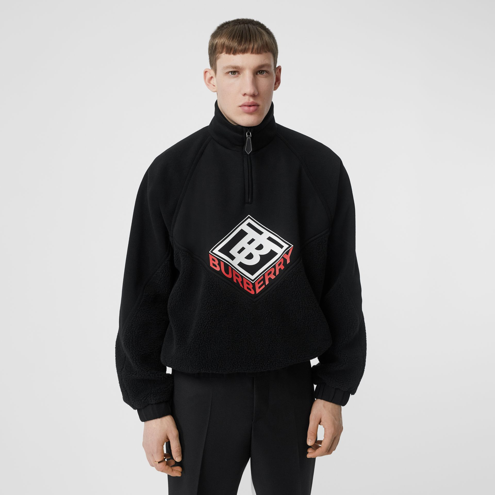 Logo Graphic Neoprene Funnel Neck Track Top in Black - Men | Burberry - gallery image 0