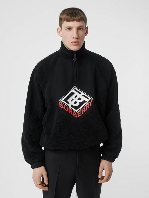 Logo Graphic Neoprene Funnel Neck Track Top in Black