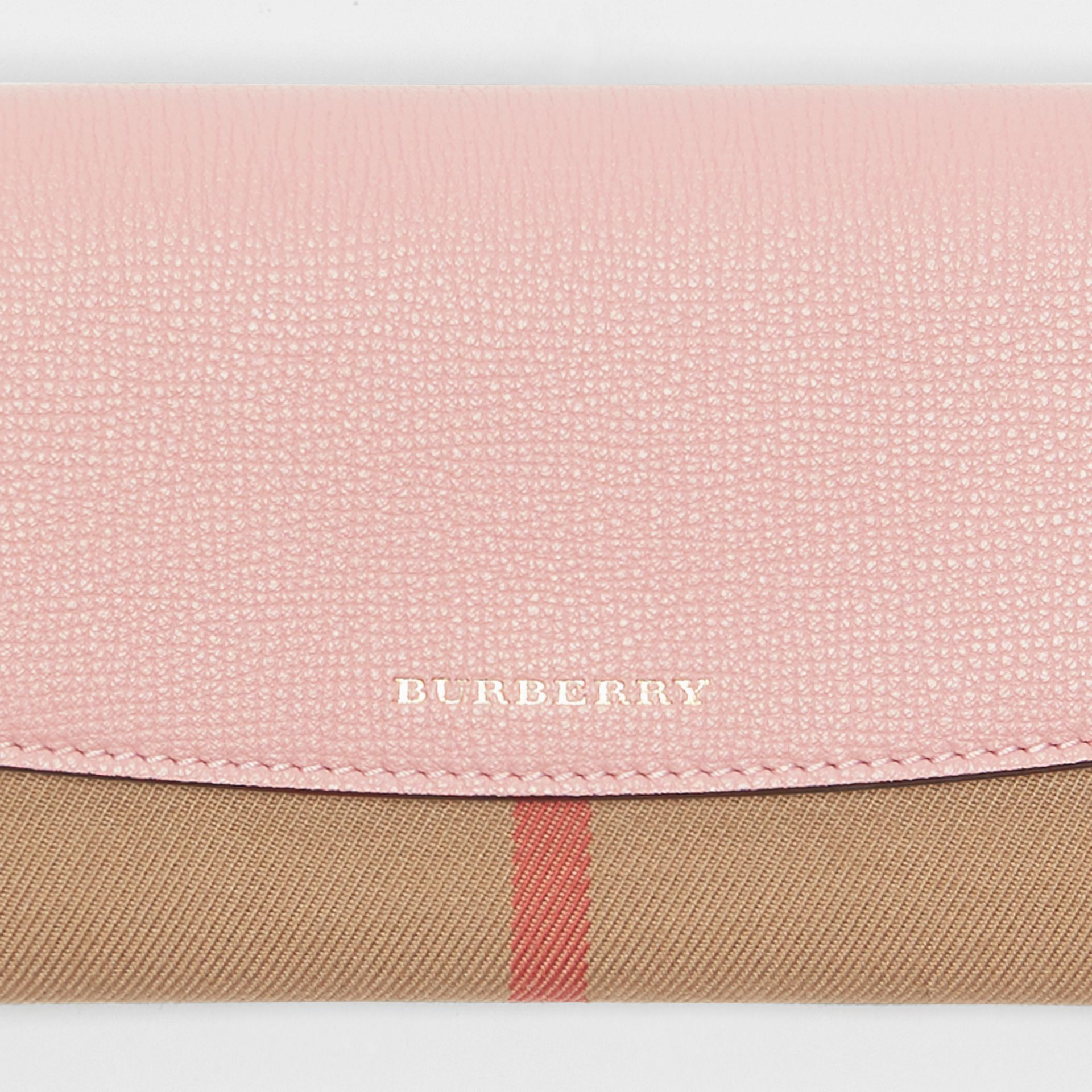 House Check And Leather Continental Wallet in Pale Orchid - Women | Burberry Canada - gallery image 1