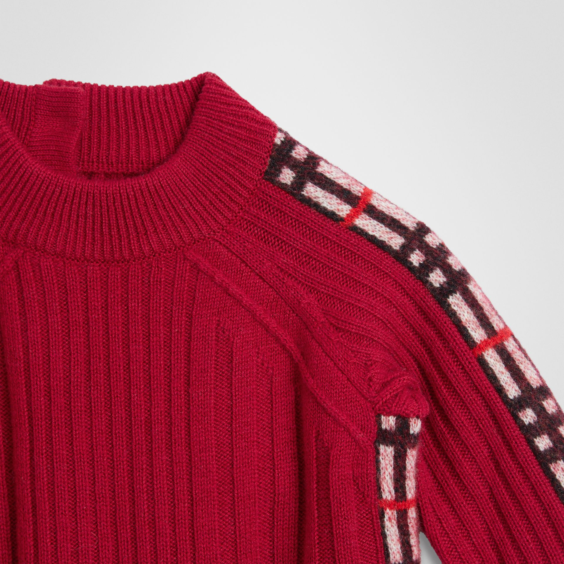 Check Detail Wool Cashmere Dress in Burgundy Red - Children | Burberry United Kingdom - gallery image 4