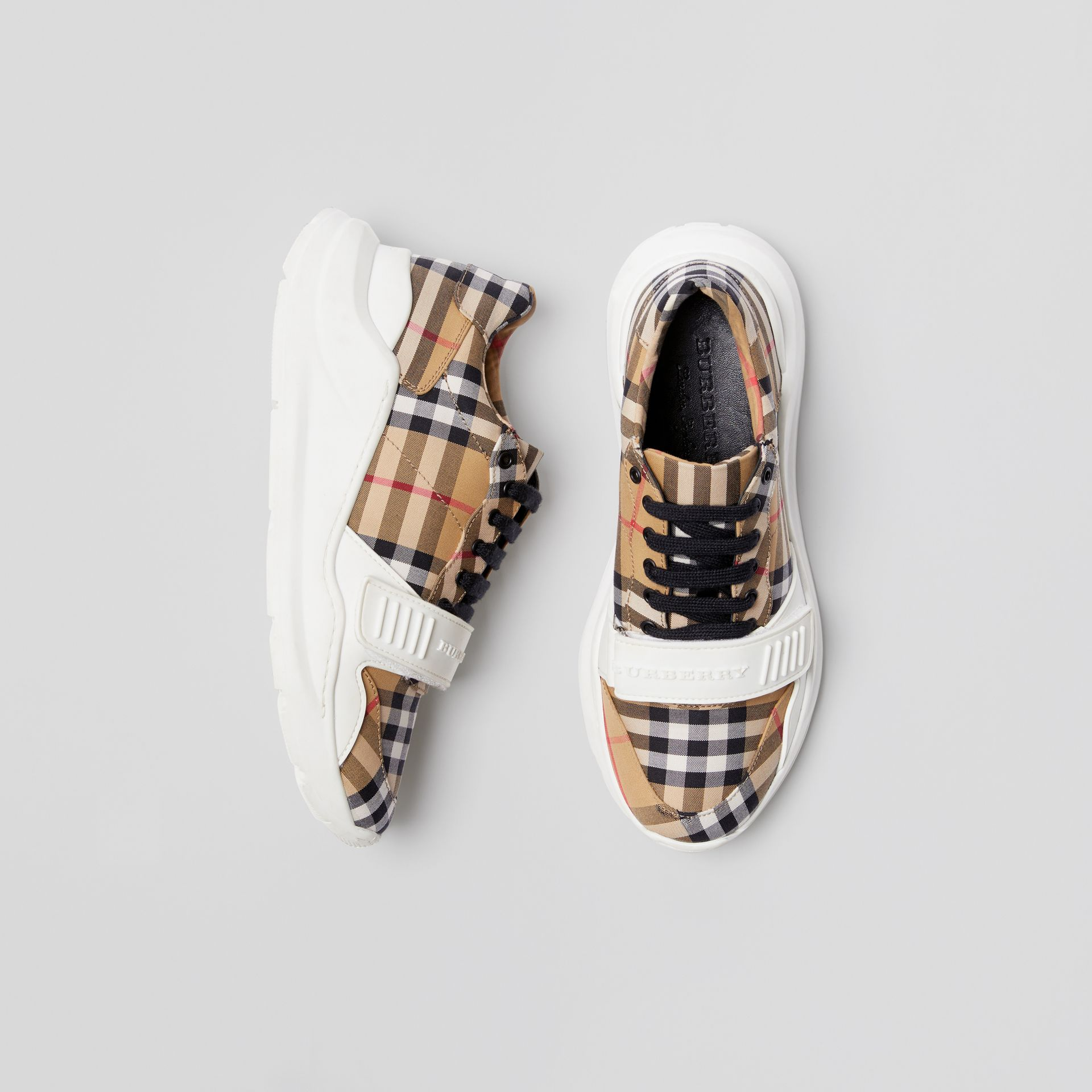 Vintage Check Cotton Sneakers in Antique Yellow - Women | Burberry Australia - gallery image 0