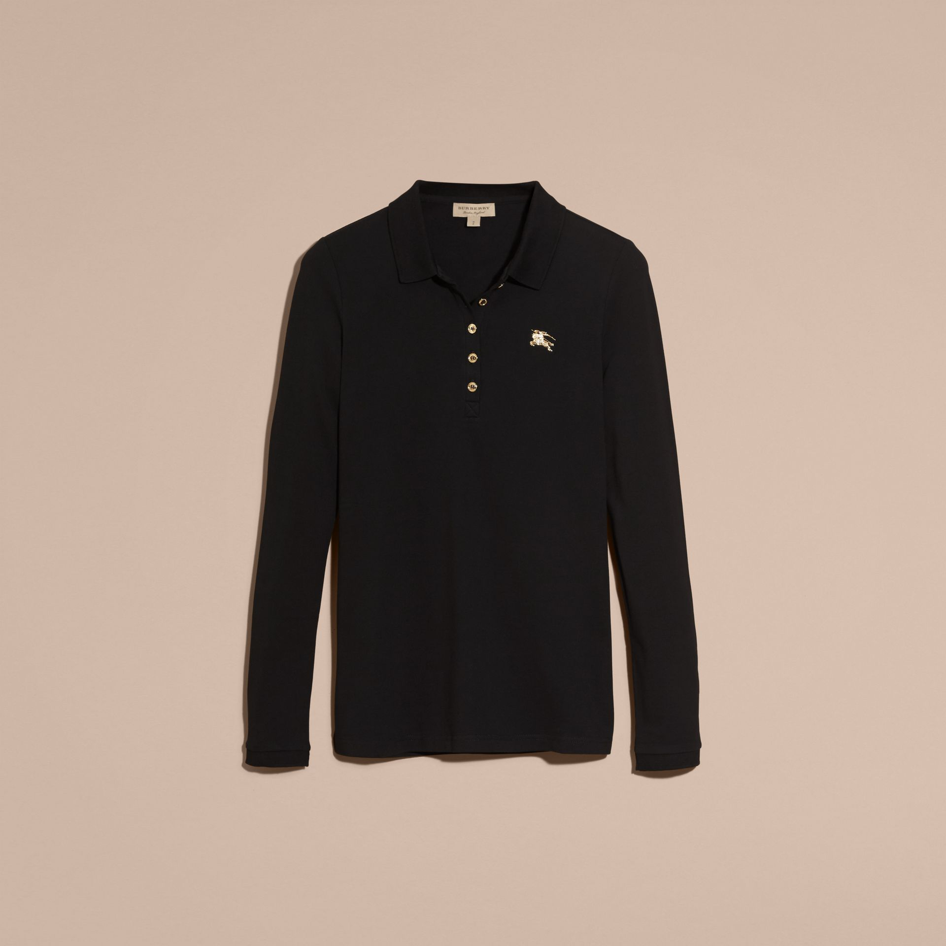 Long-sleeved Stretch Cotton Piqué Polo Shirt in Black - gallery image 4