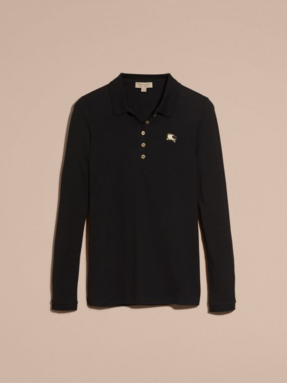 Long-sleeved Stretch Cotton Piqué Polo Shirt in Black - cell image 3