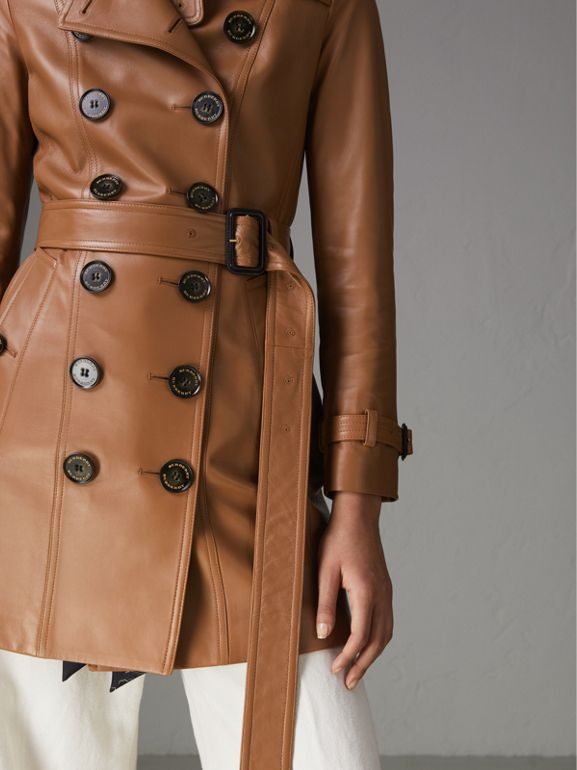Sandringham Fit Lambskin Trench Coat in Caramel - Women | Burberry - cell image 1