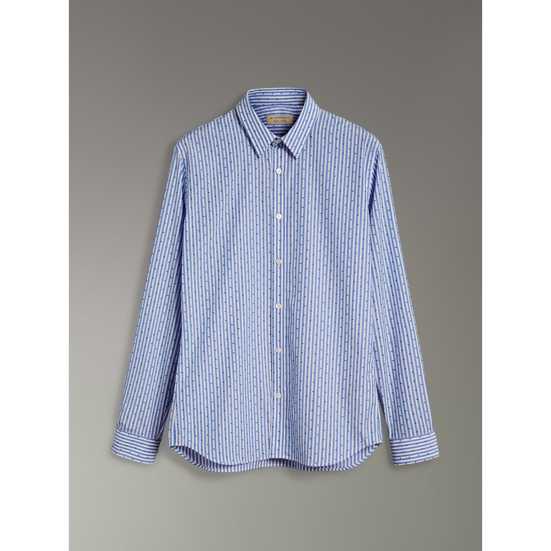 Slim Fit Fil Coupé Striped Cotton Shirt in Mid Blue - Men | Burberry - gallery image 3