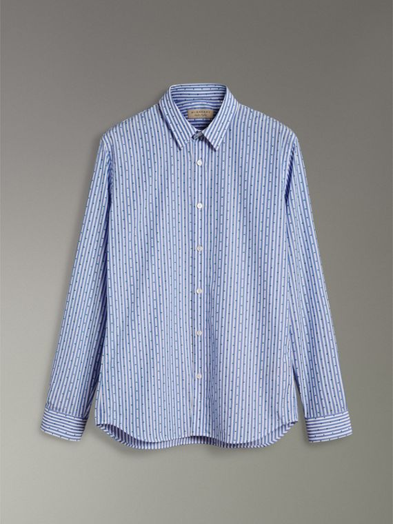 Slim Fit Fil Coupé Striped Cotton Shirt in Mid Blue - Men | Burberry - cell image 3
