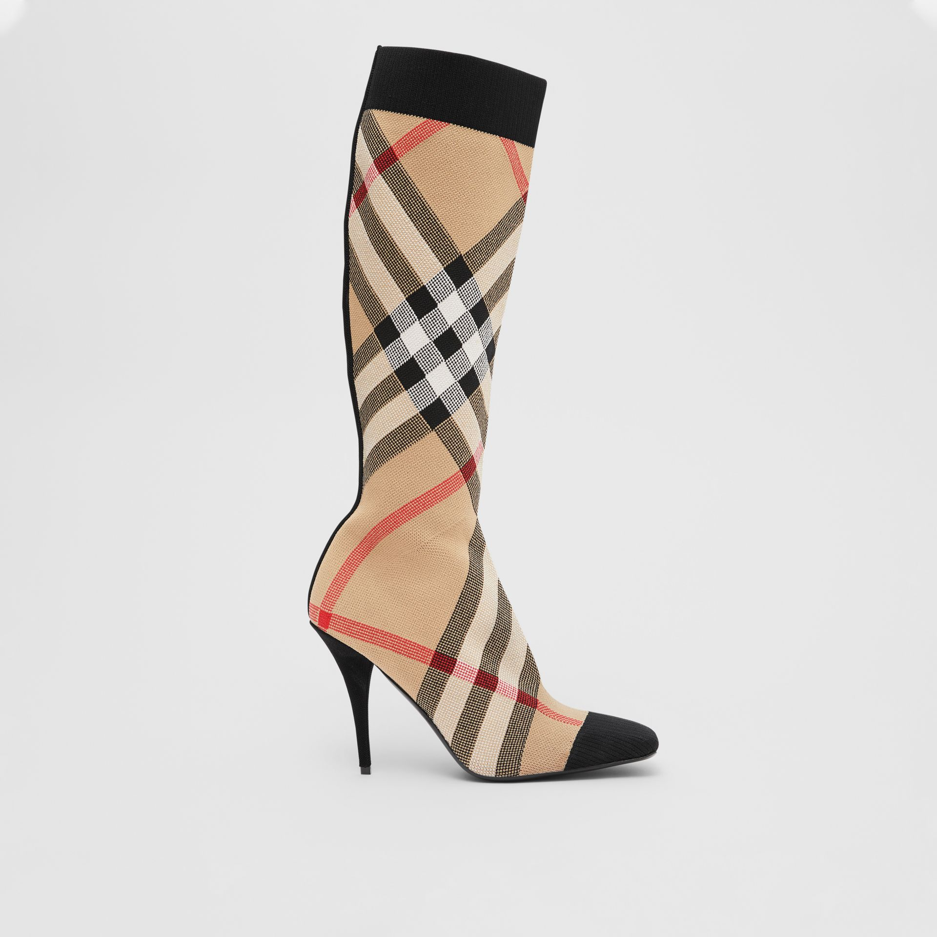 Check Stretch Knit Sock Boots in Archive Beige - Women | Burberry United Kingdom - gallery image 5