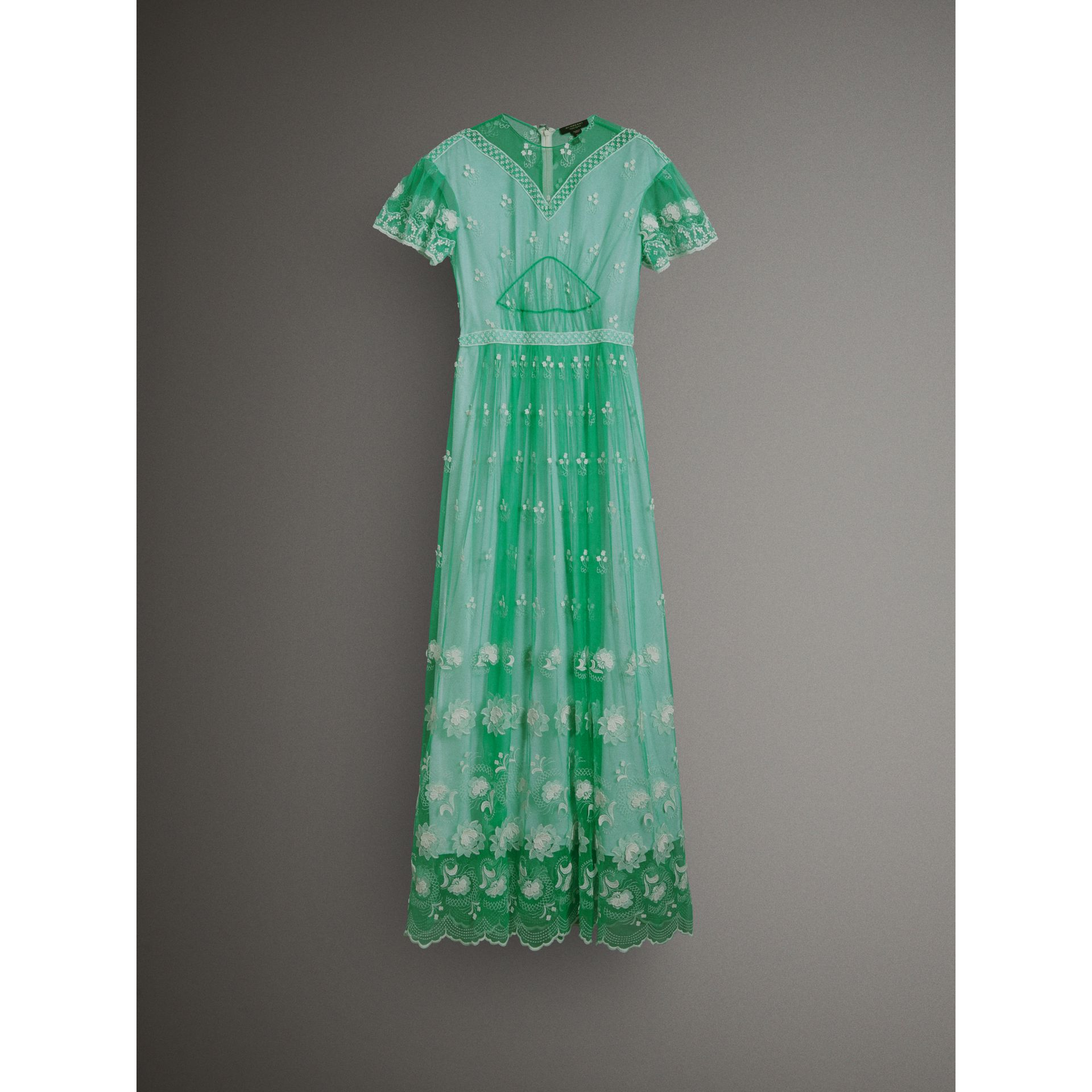 Embroidered Tulle Gathered Dress in Aqua Green/white - Women | Burberry Singapore - gallery image 3