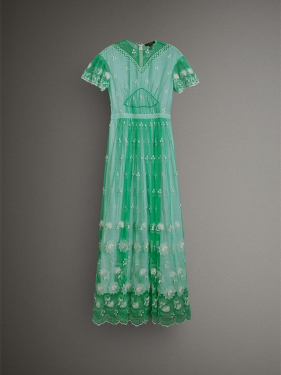 Embroidered Tulle Gathered Dress in Aqua Green/white - Women | Burberry United States - cell image 3