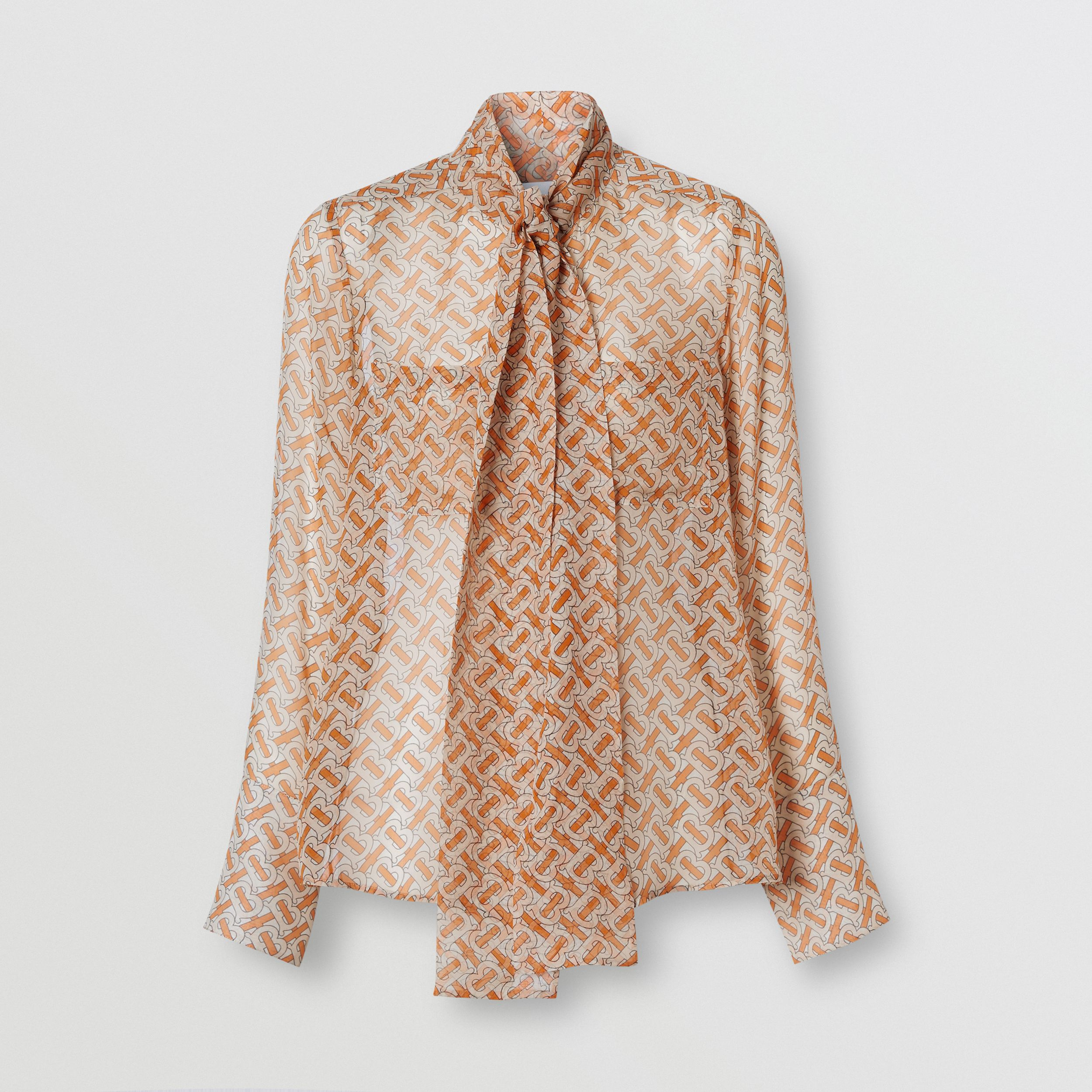 Monogram Print Silk Chiffon Pussy-bow Blouse in Bright Orange - Women | Burberry Australia - 4