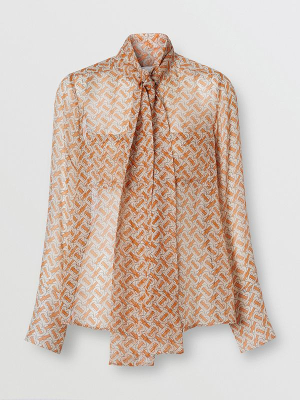 Monogram Print Silk Chiffon Pussy-bow Blouse in Bright Orange - Women | Burberry United Kingdom - cell image 3