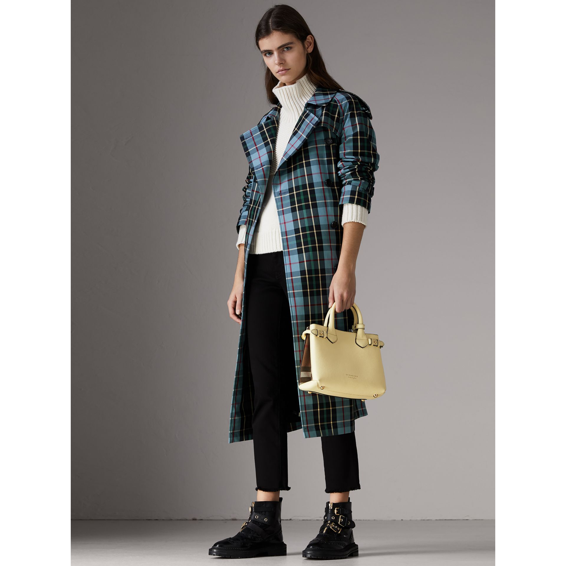 The Small Banner in Leather and House Check in Camomile Yellow - Women | Burberry - gallery image 2