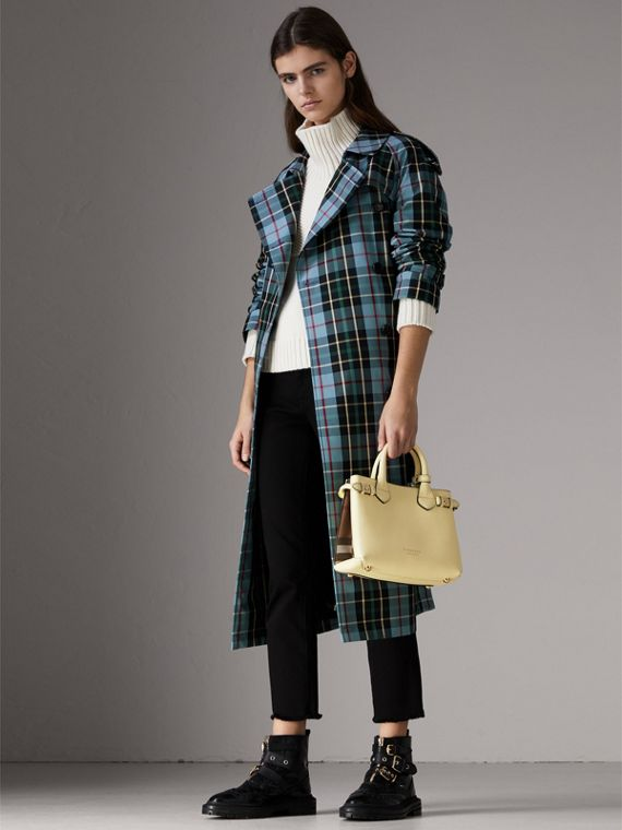 The Small Banner in Leather and House Check in Camomile Yellow - Women | Burberry United Kingdom - cell image 2