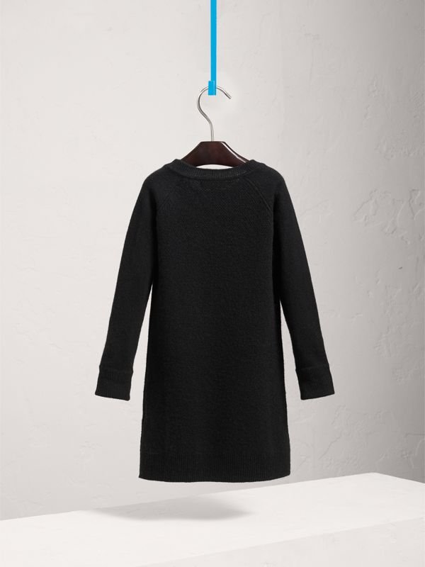 Cashmere Sweater Dress in Black | Burberry - cell image 3
