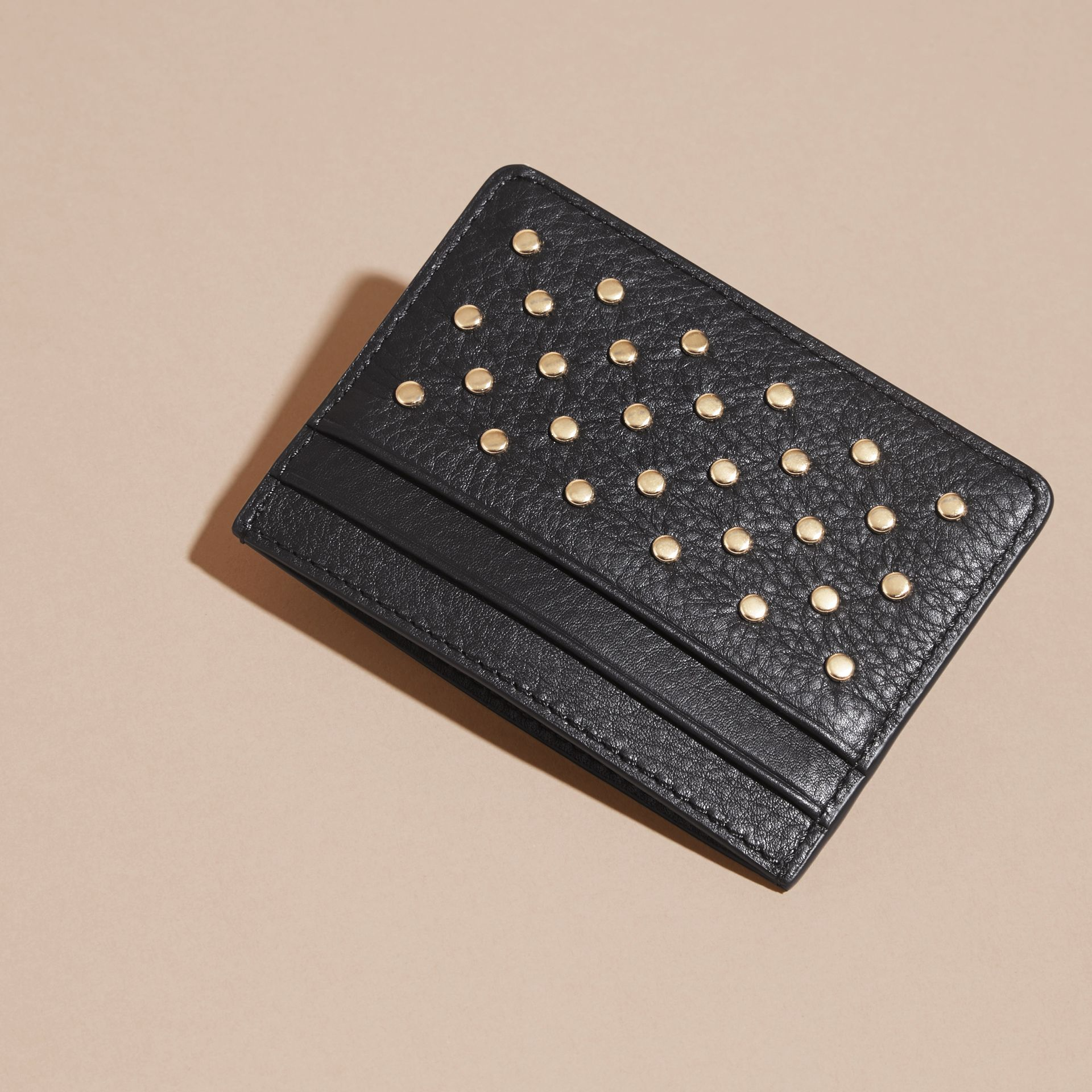 Black Studded Leather Card Case - gallery image 4