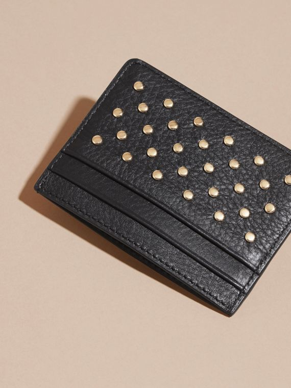 Black Studded Leather Card Case - cell image 3