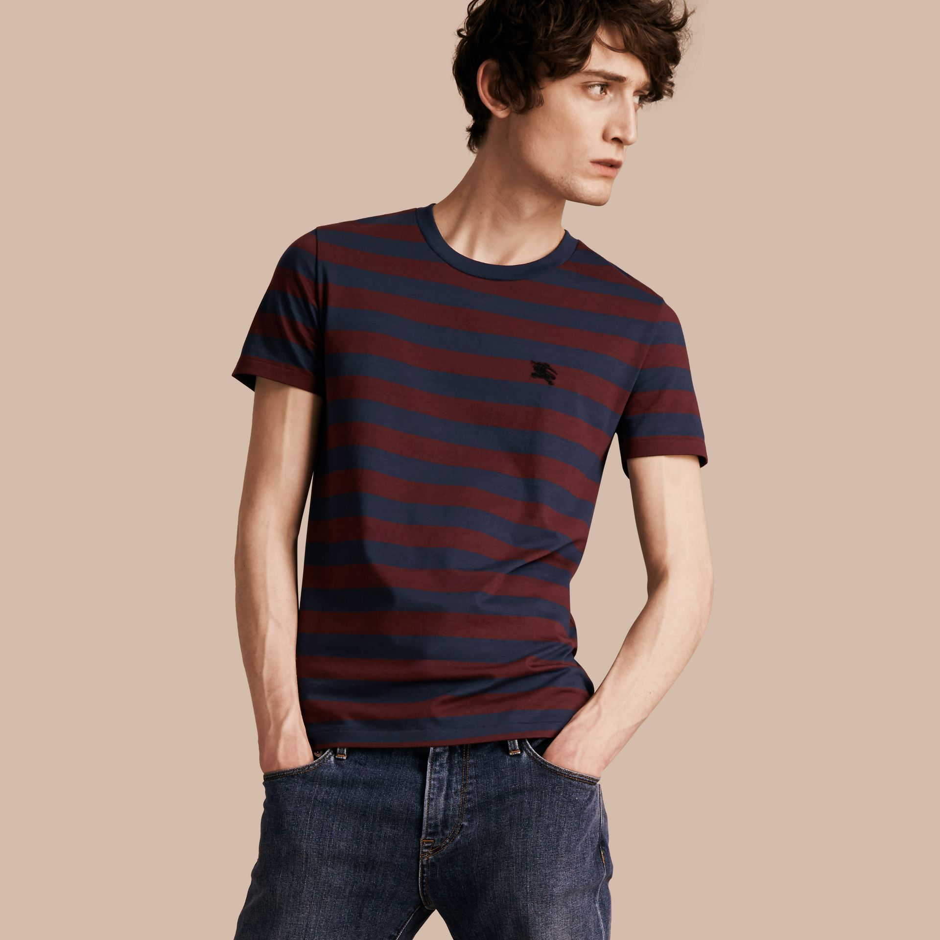 Burgundy red Striped Cotton T-Shirt Burgundy Red - gallery image 1