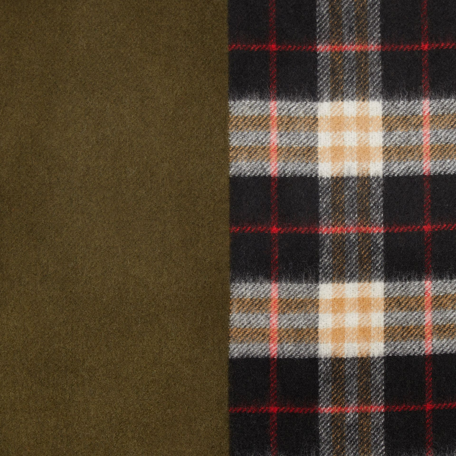 Colour Block Vintage Check Cashmere Scarf in Antique Green | Burberry United States - gallery image 1