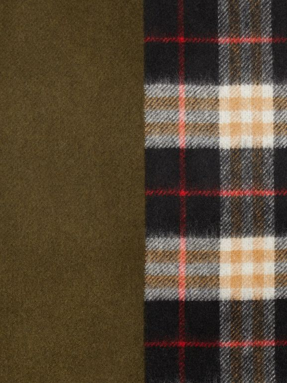 Colour Block Vintage Check Cashmere Scarf in Antique Green | Burberry Australia - cell image 1