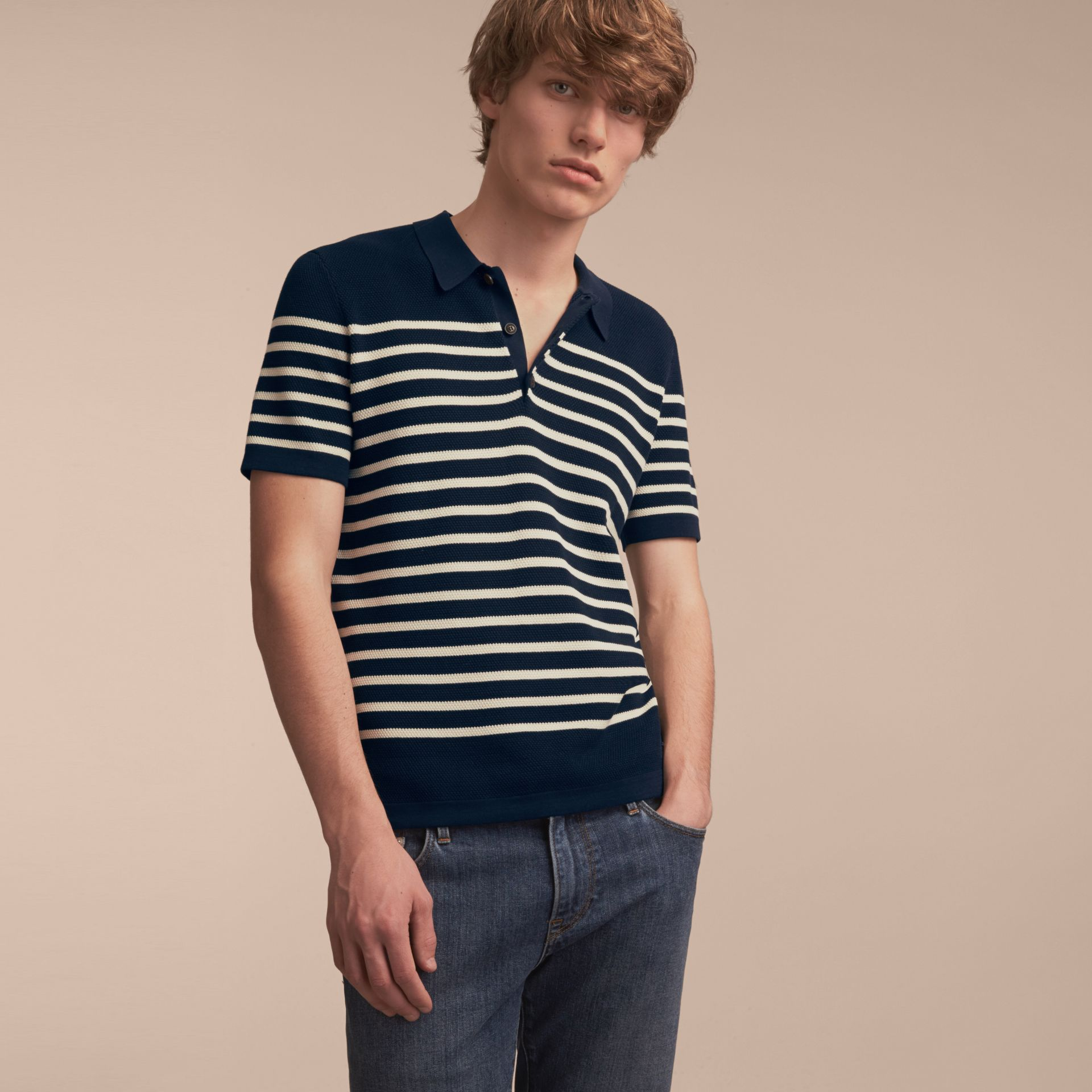 Striped Knitted Cotton Polo Shirt in Navy - Men | Burberry Australia - gallery image 6