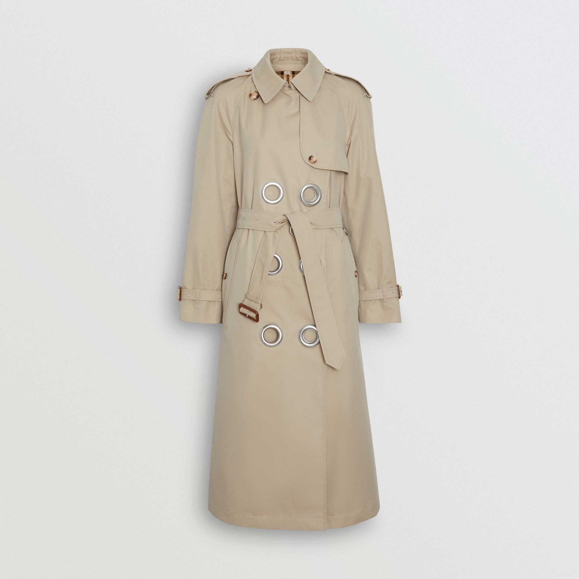 Grommet Detail Cotton Gabardine Trench Coat in Stone - Women | Burberry - gallery image 3