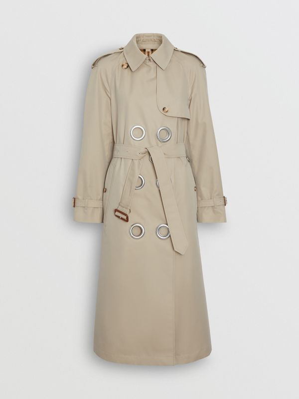 Grommet Detail Cotton Gabardine Trench Coat in Stone - Women | Burberry - cell image 3