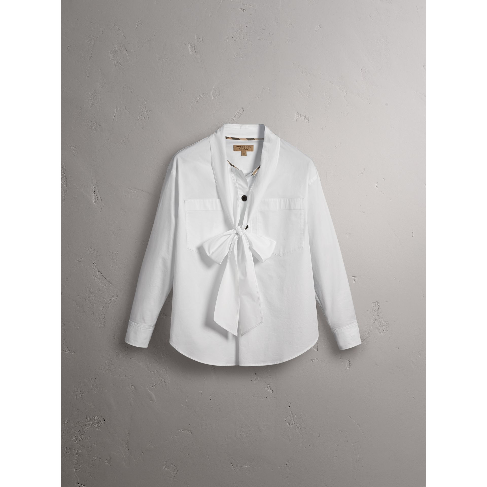 Neck Tie Stretch Cotton Shirt in White - Women | Burberry - gallery image 4