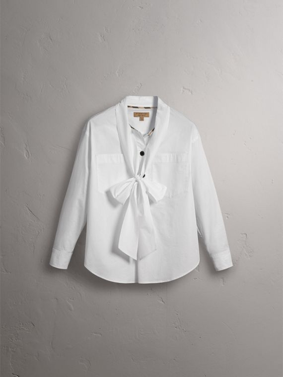 Neck Tie Stretch Cotton Shirt in White - Women | Burberry - cell image 3