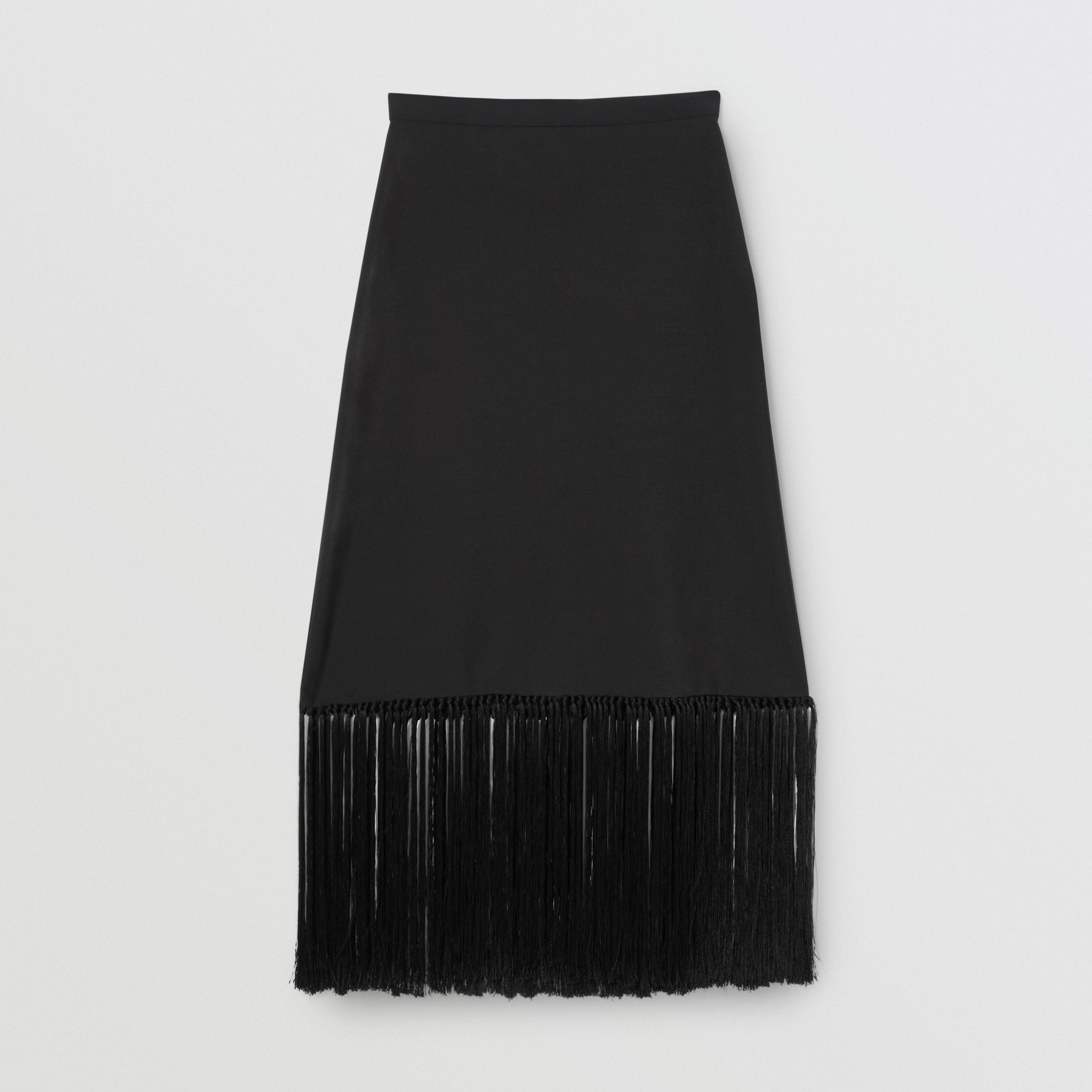 Fringed Mohair Wool A-line Skirt in Black - Women | Burberry - 4