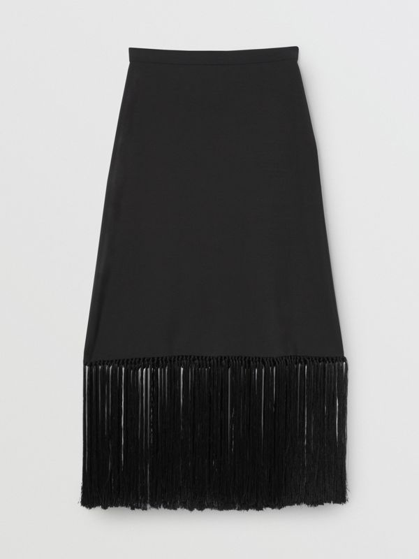 Fringed Mohair Wool A-line Skirt in Black - Women | Burberry United Kingdom - cell image 3
