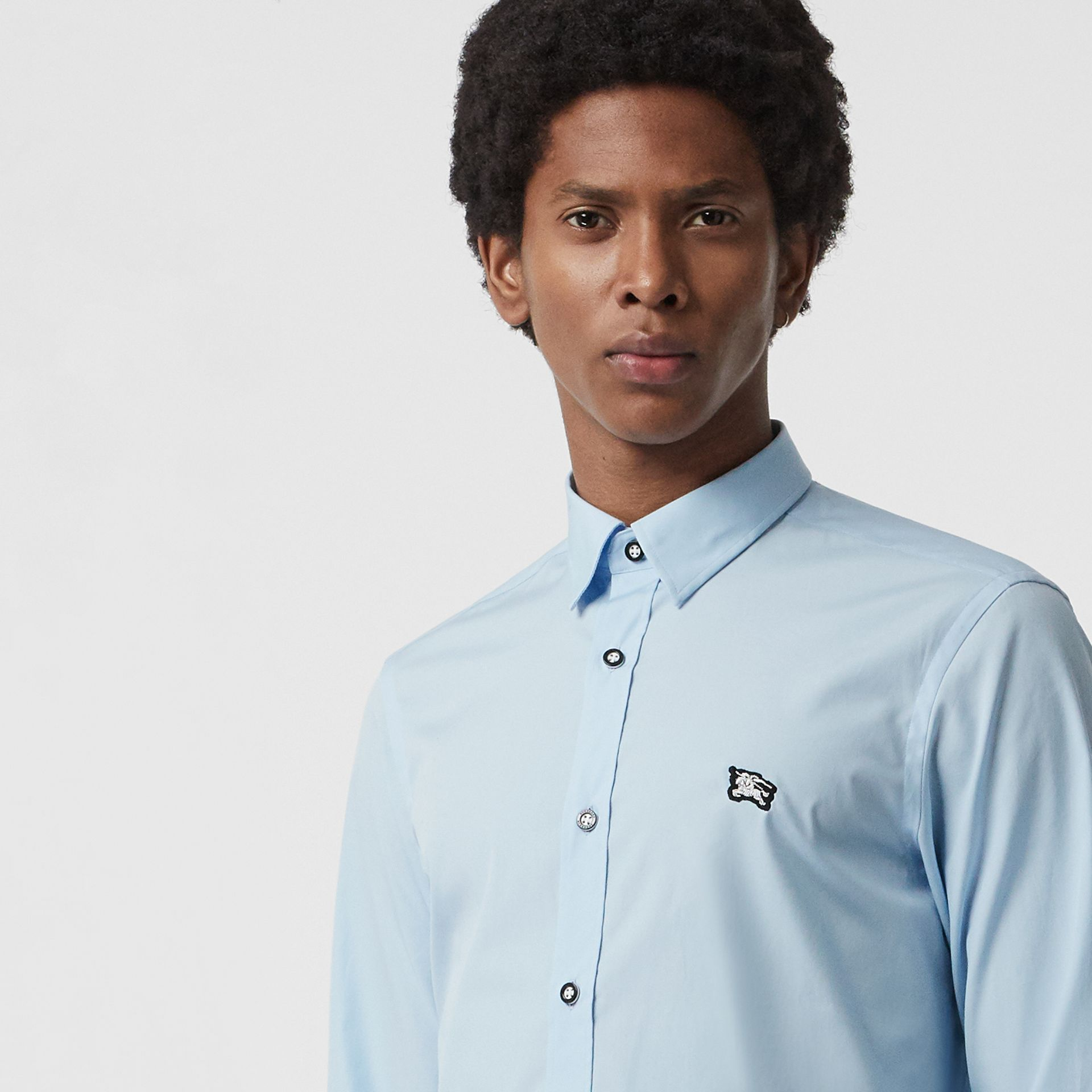 Contrast Button Stretch Cotton Shirt in Pale Blue - Men | Burberry United Kingdom - gallery image 3