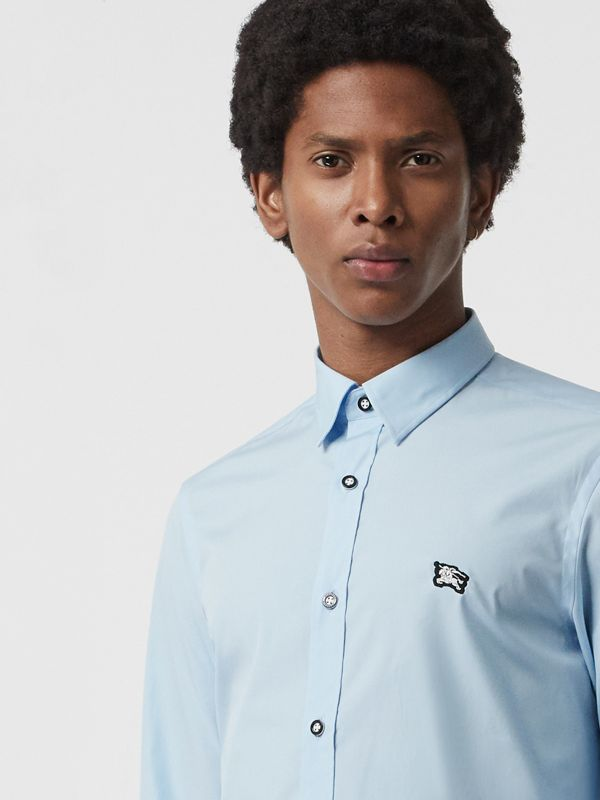 Contrast Button Stretch Cotton Shirt in Pale Blue - Men | Burberry - cell image 3