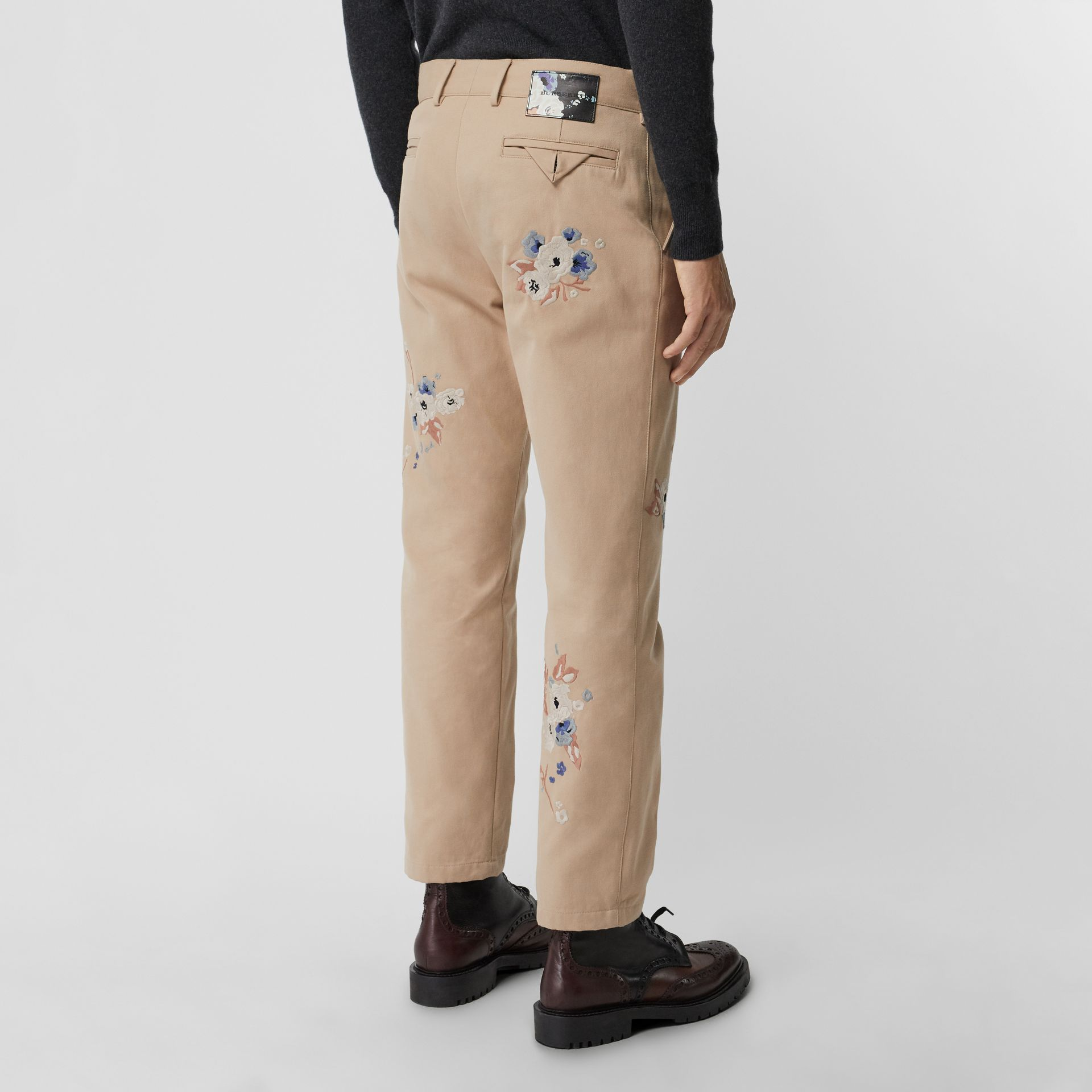 Slim Fit Floral Embroidered Cotton Chinos in Stone - Men | Burberry - gallery image 2