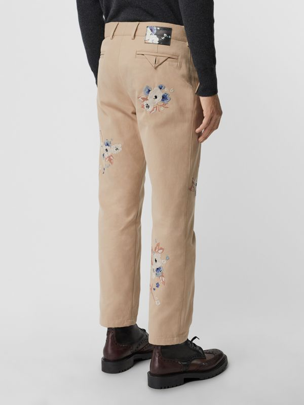 Slim Fit Floral Embroidered Cotton Chinos in Stone - Men | Burberry - cell image 2