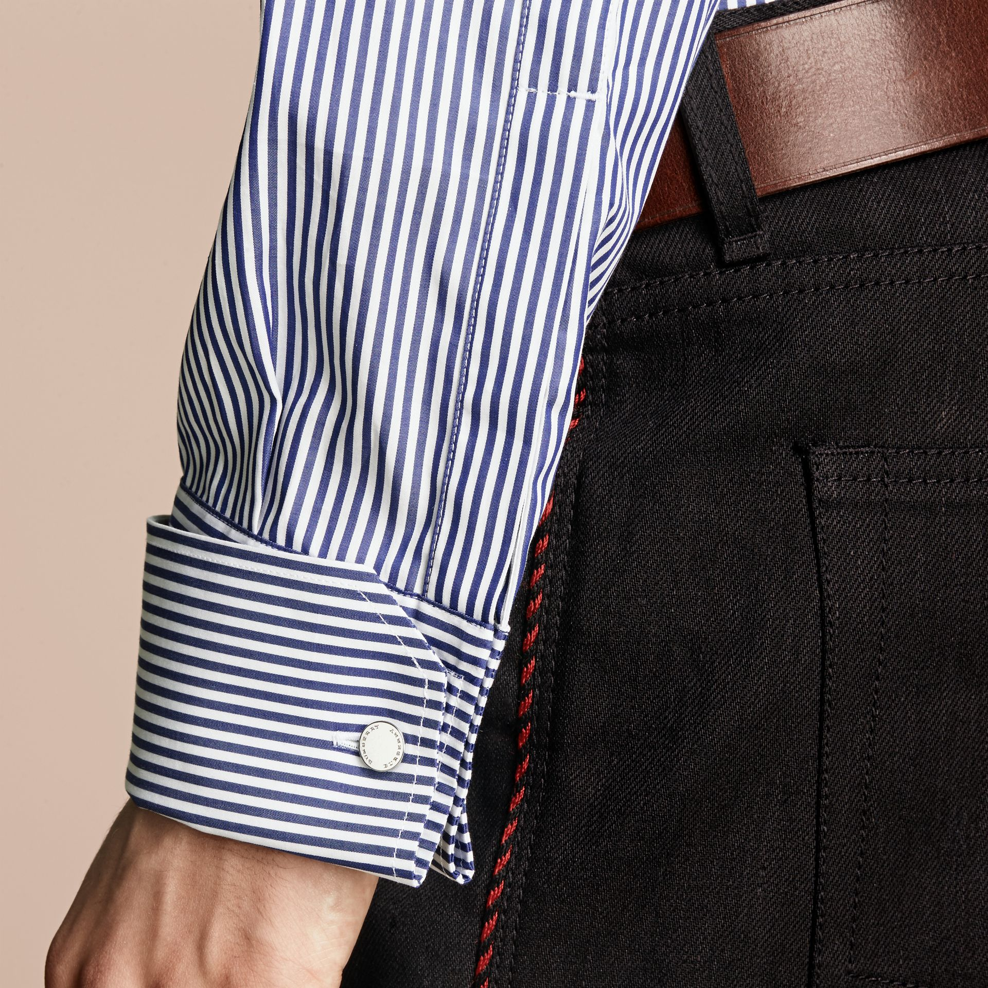 Mid indigo Ruffle Detail Striped Cotton Shirt - gallery image 6
