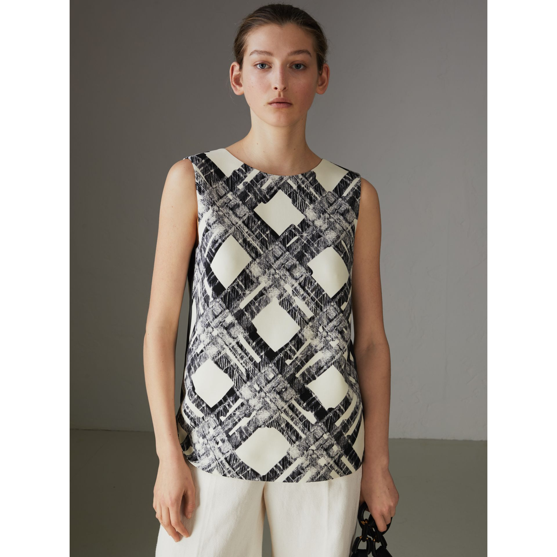 Sleeveless Check Print Wool Silk Top in Stone - Women | Burberry - gallery image 4