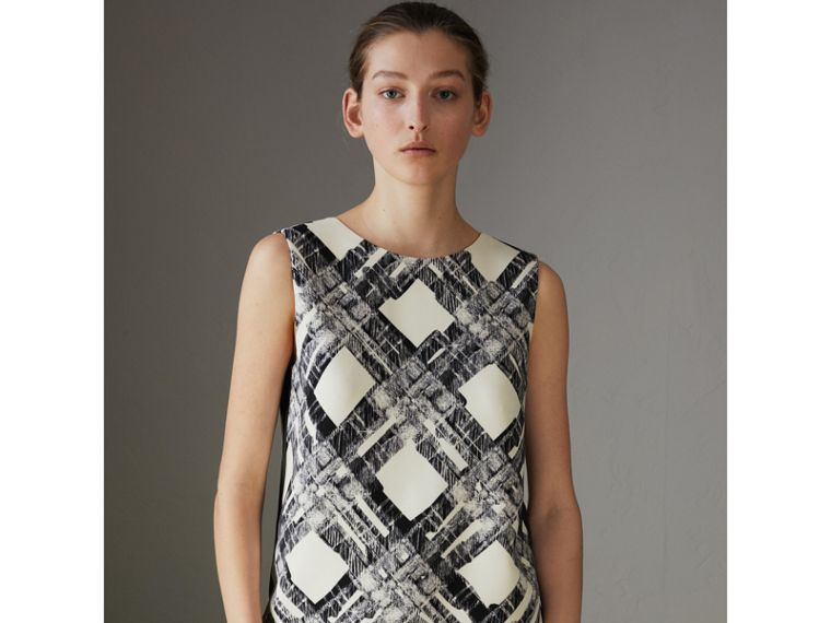 Sleeveless Check Print Wool Silk Top in Stone - Women | Burberry - cell image 4