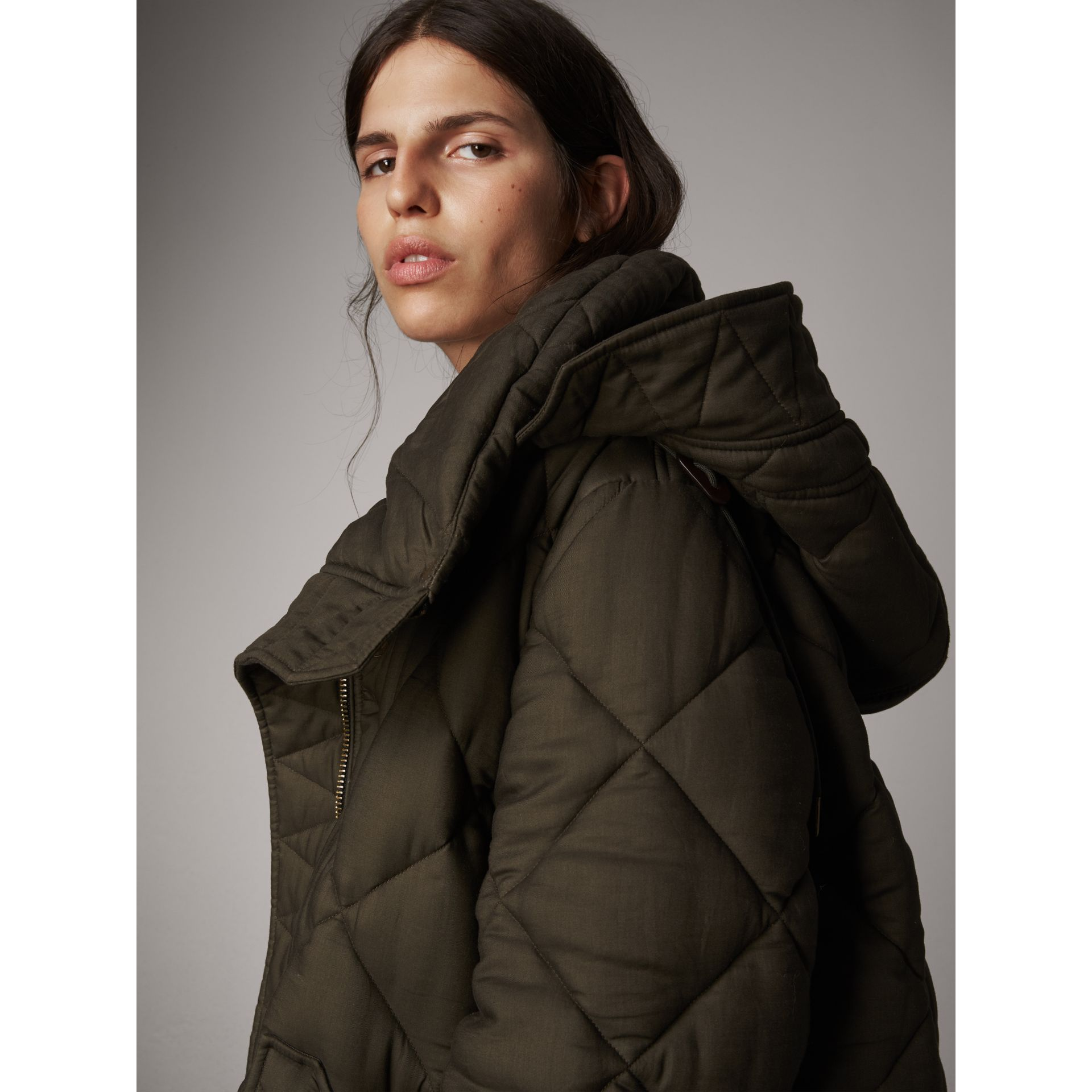 Detachable Hood Oversized Quilted Jacket in Olive - Women | Burberry - gallery image 1