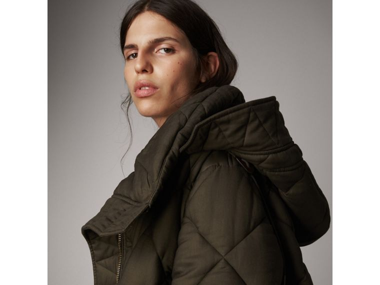 Detachable Hood Oversized Quilted Jacket in Olive - Women | Burberry - cell image 1