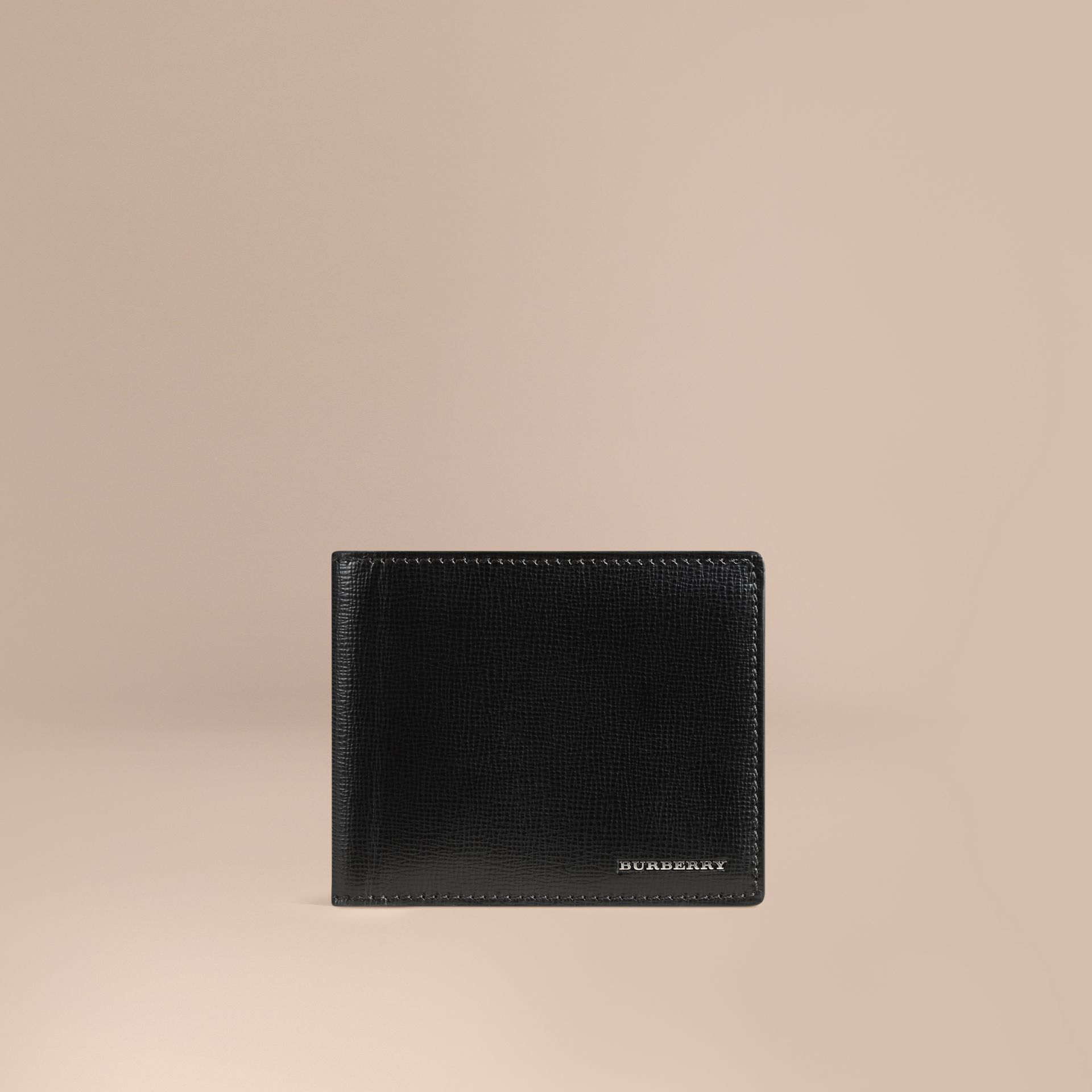 London Leather ID Wallet in Black - Men | Burberry Canada - gallery image 1