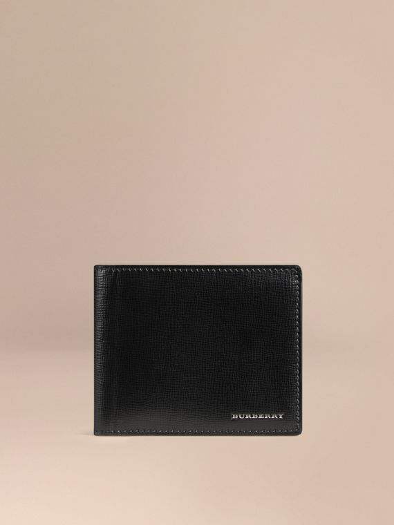 London Leather ID Wallet in Black - Men | Burberry Singapore