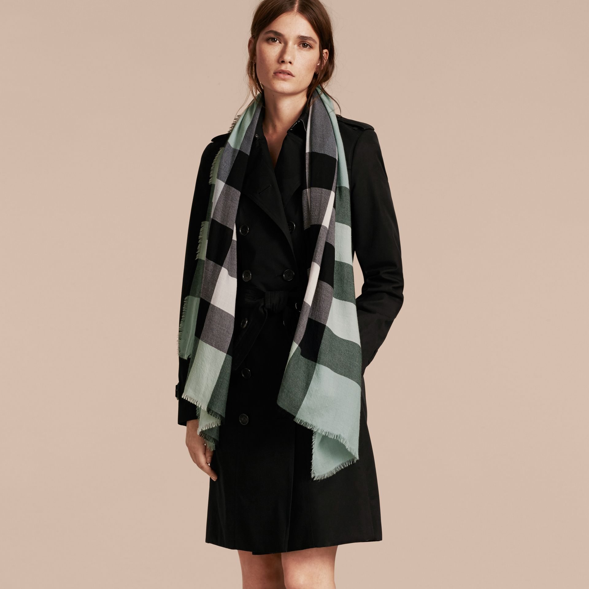 The Lightweight Cashmere Scarf in Check Dusty Mint - gallery image 3
