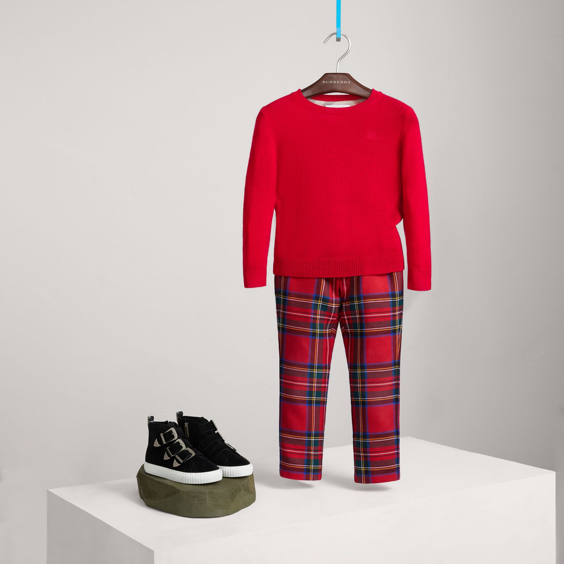 Check Elbow Patch Cashmere Sweater in Parade Red - Boy | Burberry - gallery image 0