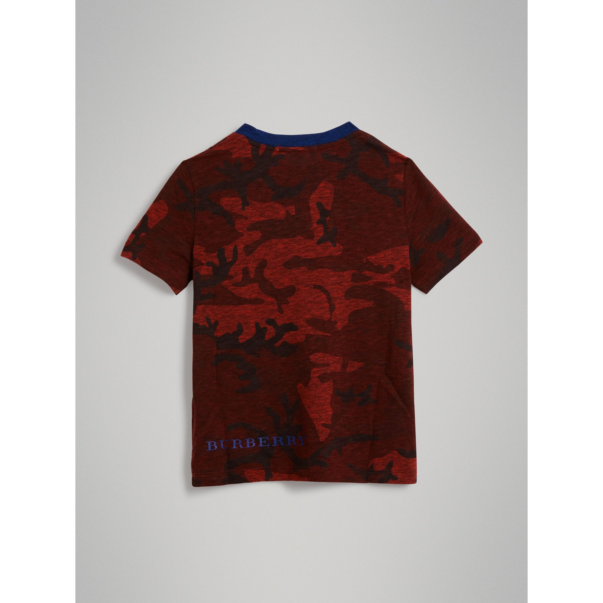 Camouflage Print Jersey T-shirt in Red | Burberry - gallery image 3