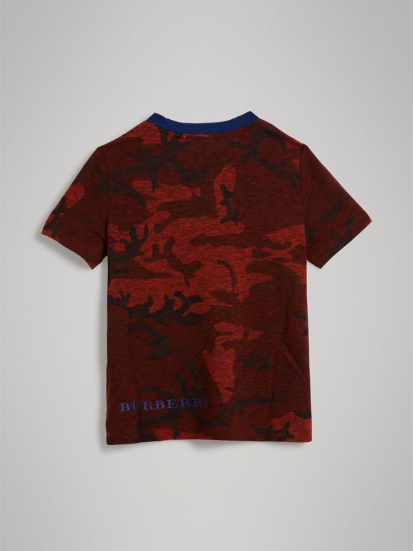 Camouflage Print Jersey T-shirt in Red | Burberry - cell image 3